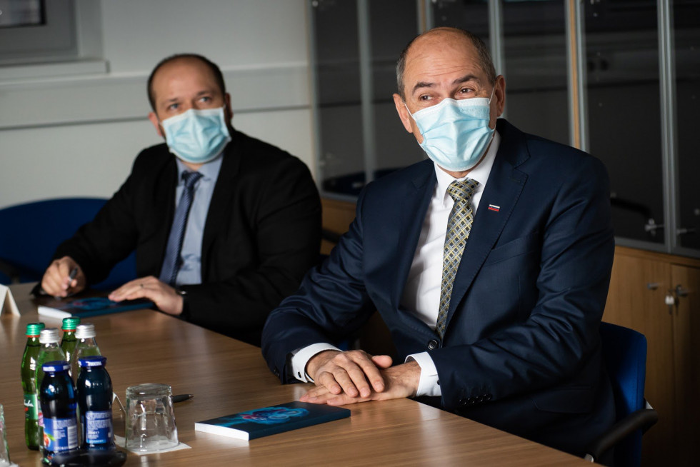 Prime Minister Janez Janša and Janez Poklukar, the Minister of Health, on a working visit to the BIA Separations - Sartorius company