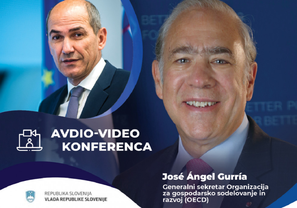 Prime Minister Janez Janša's video conference call with OECD Secretary-General Angel Gurria.