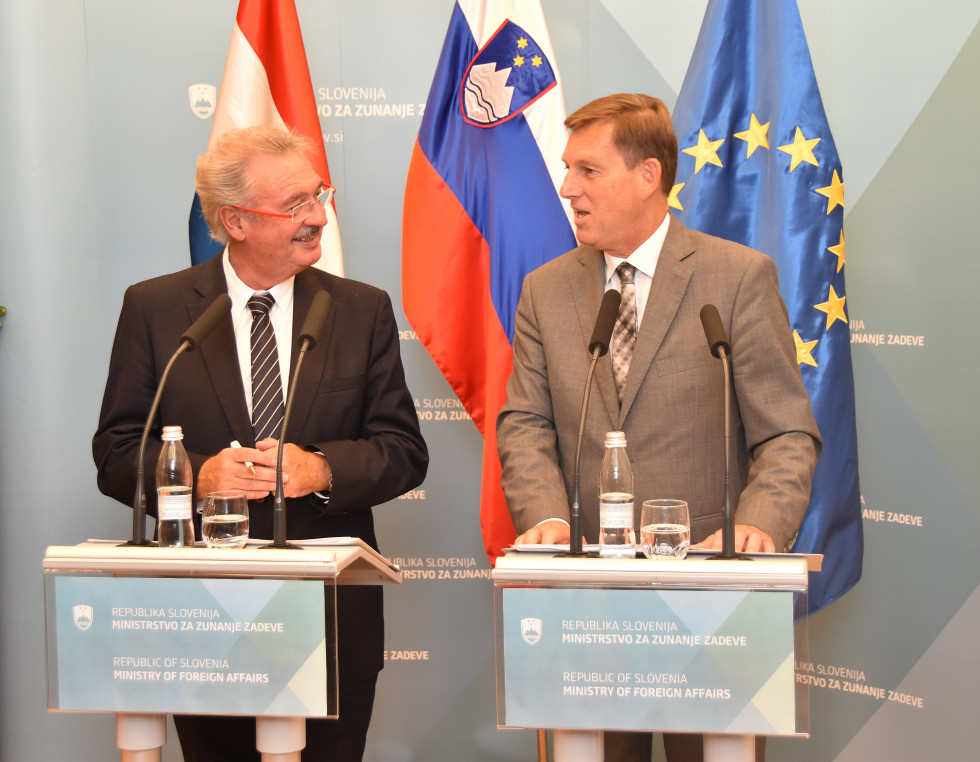 Minister of Foreign and European Affairs and Minister of Immigration and Asylum of the Grand Duchy of Luxembourg Jean Asselborn and Minister of Foreign Affairs of the Republic of Slovenia Dr Miro Cerar