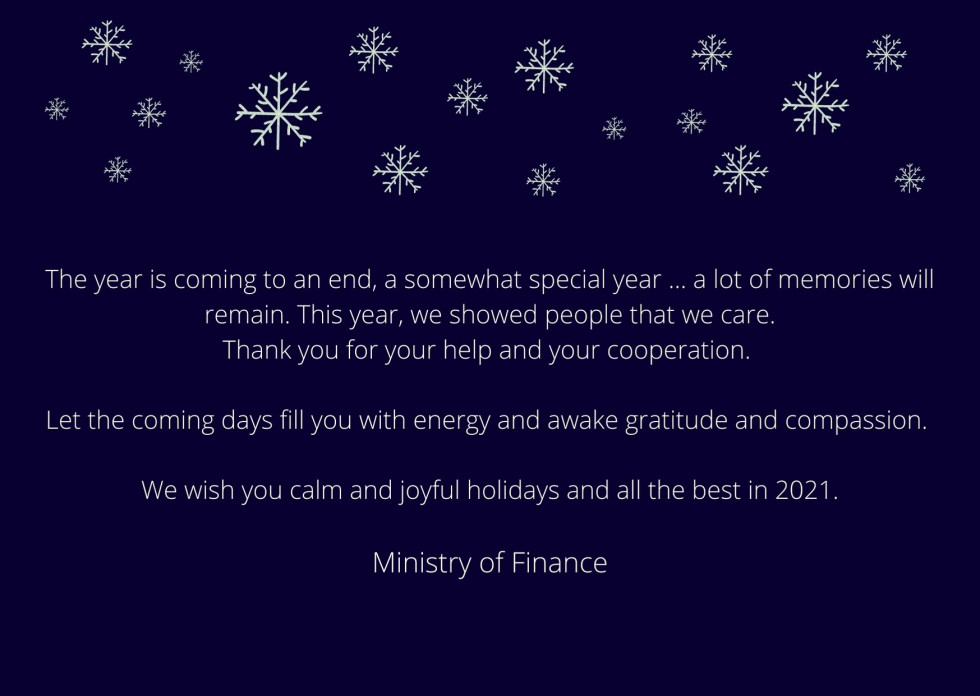 White letters on dark blue background. The contents of the greeting are written below.