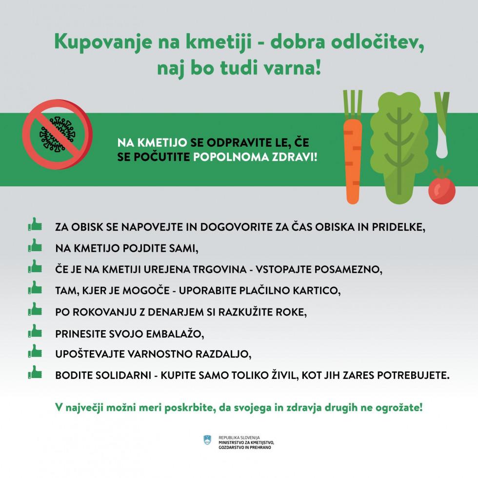 Infoslika z napotki za varno kupovanje na kmetiji