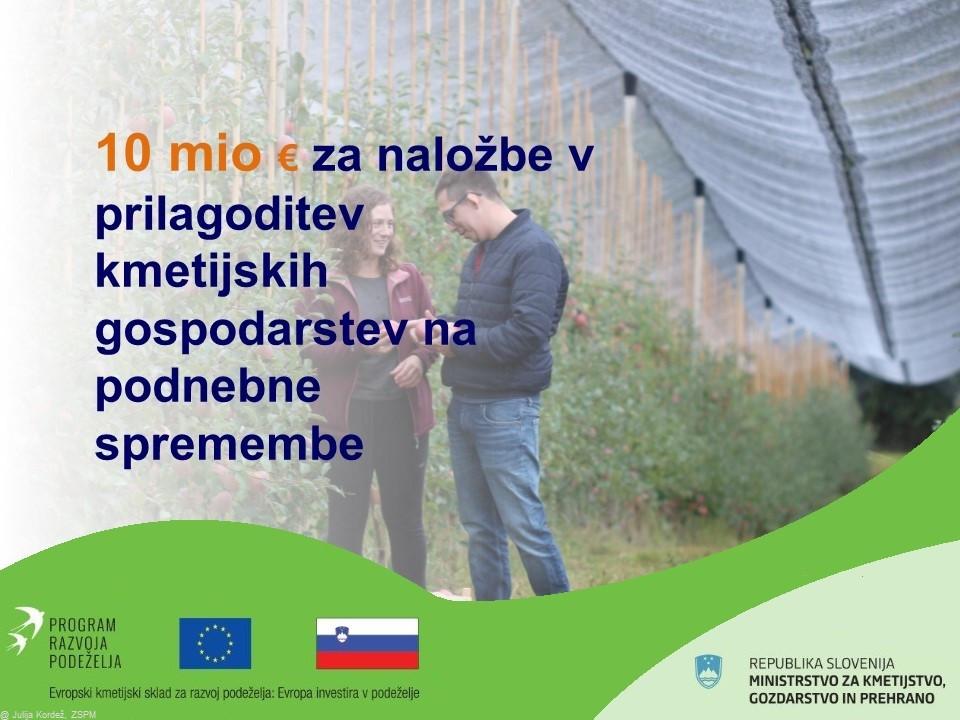 10 milijonov evrov za naložbe v prilagoditev kmetijskih gospodarstev na podnebne spremembe