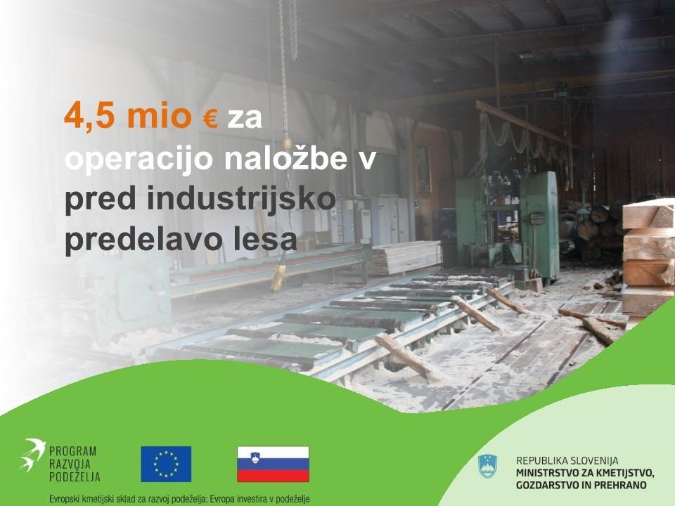 4,5 milijona evrov za naložbe v predindustrijskjo predelavo lesa