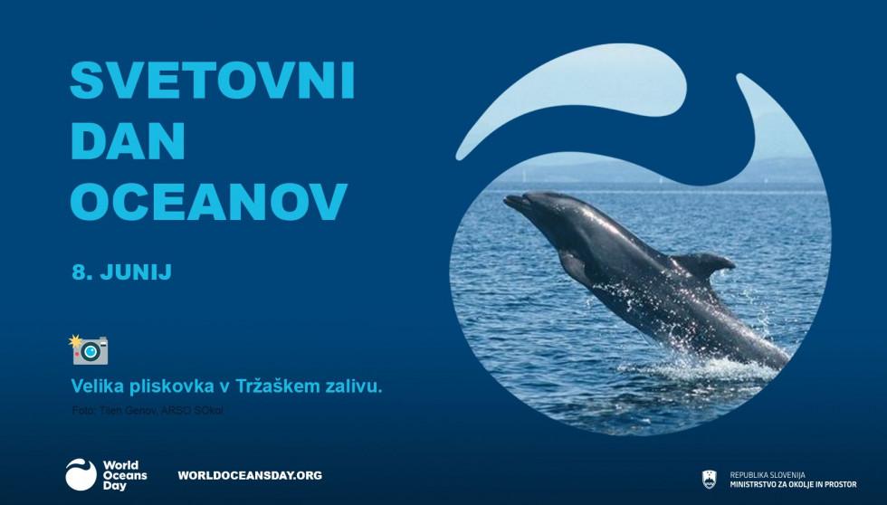 Svetovni dan oceanov logotip z veliko pliskovko v Tržaškem zalivu
