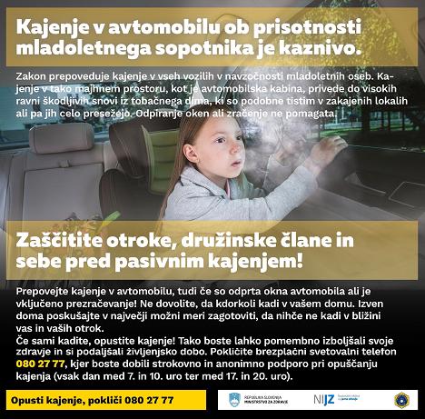 Kajenje v avtomobilu je ob prisotnosti mladoletne osebe kaznivo