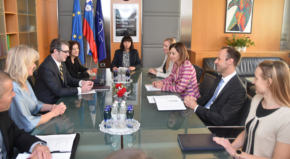 State Secretary Simona Leskovar and US Acting Deputy Assistant Secretary of Defense for Europe and NATO Policy Andrew Winternitz