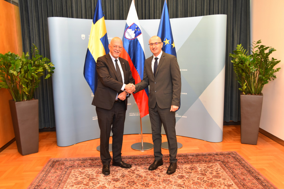 State Secretary Dobran Božič and Minister for EU Affairs in the Cabinet of the Prime Minister of the Kingdom of Sweden Hans Dahlgren