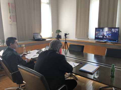 State Secretary Tone Kajzer at the audio/video conference
