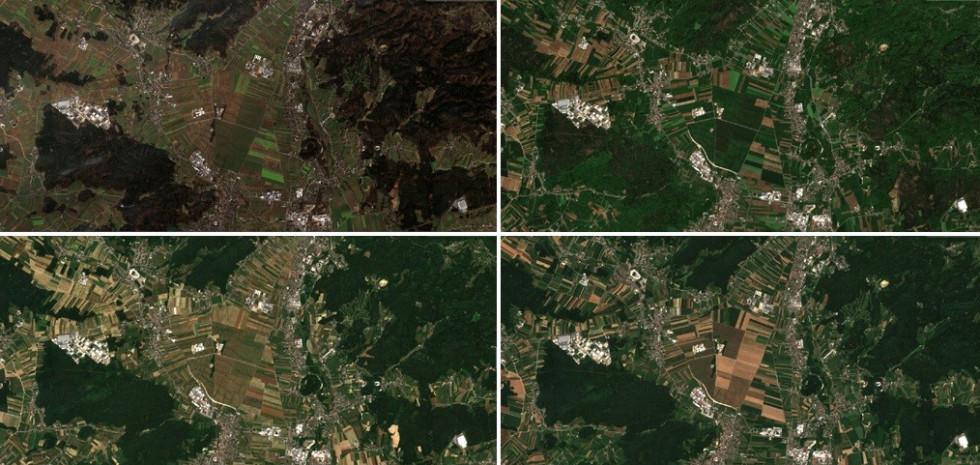 Na fotografiji so vidni štirje satelitski posnetki istega območja od zgodnje pomladi za pozne jeseni. Viden je naravni proces letnih časov.