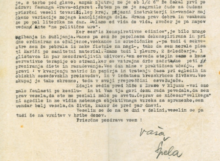 Second page of the report on Slovenian Central War Partisan Hospital and Measures to Ensure its Secrecy.
