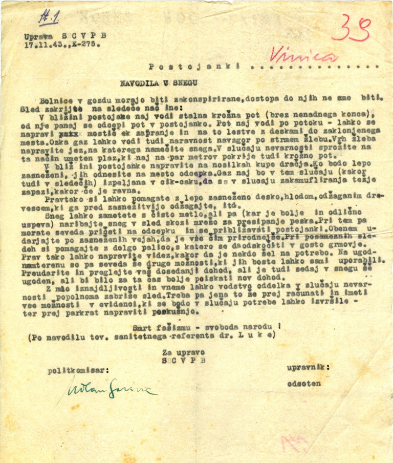 First page of the report on Slovenian Central War Partisan Hospital and Measures to Ensure its Secrecy.