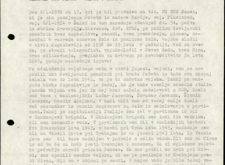 First page of Janez Rus's Statement written in typescrit.