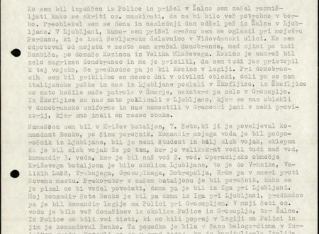 Second page of Janez Rus's Statement written in typescrit.