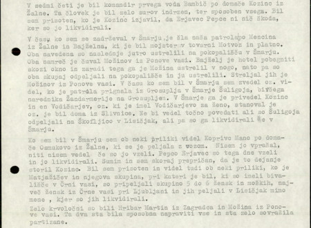 Third page of Janez Rus's Statement written in typescrit.