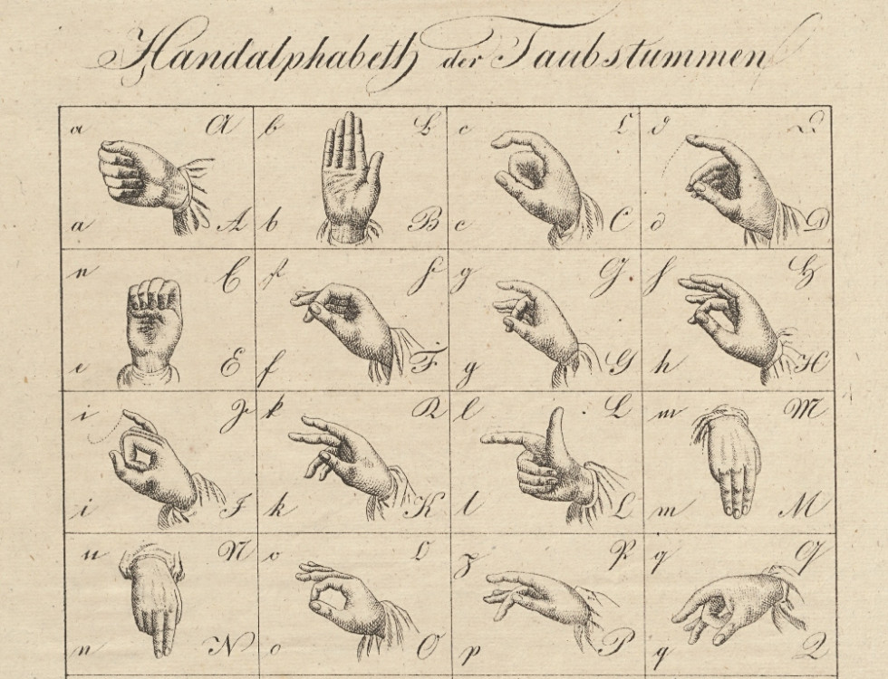 Illustrations that depict hand gestures used to show individual letters in sign language. SI AS 33, Deželna vlada v Ljubljani, bundle 27/I a, box 7.