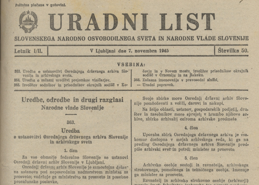 The decree under code 363 was published on November 7, 1945 in the 50th issue of the Official Gazette.