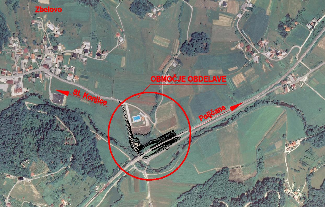 Lokacija novega železniškega postajališča Zbelovo