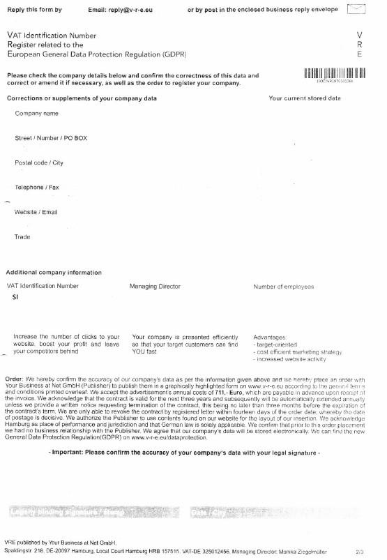 Primer obrazca za vpis ID za DDV v povezavi z varstvom osebnih podatkov
