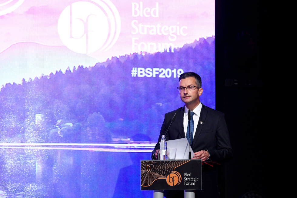 Prime minister Šarec during the introductory address at the Bled Strategic Forum