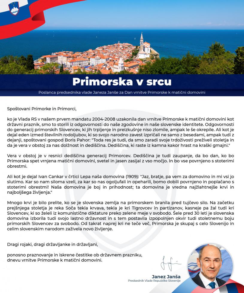 Poslanca predsednika vlade Janeza Janše ob Dnevu vrnitve Primorske k matični domovini.