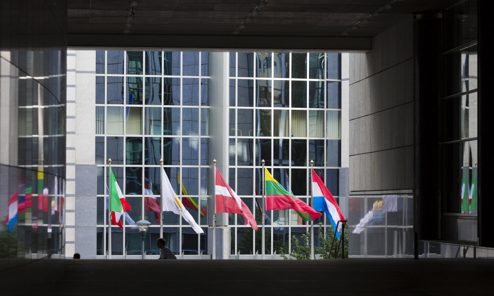 Flags of EU member states in front of the EI parliament