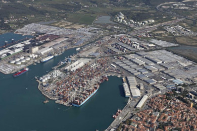 A panoramic view of Port of Koper.