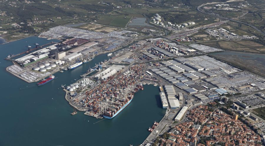 A panoramic view of Port of Koper.