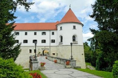 Zidan most, ki vodi do vhoda srednjeveškega gradu. Okoli njega je zelenje.