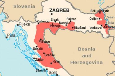Zemljevid dela Hrvaške. SAO Krajina je obarvana z rdečo.