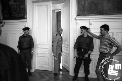 Stane Brovet pri vratih, na obeh straneh stojita vojaka in ena oseba v civilu.