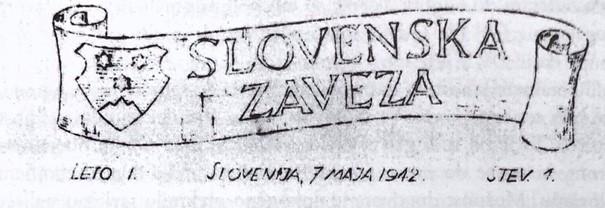 Časopis Slovenske zaveze iz leta 1942, črnobeli tisk.