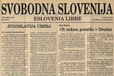 Naslovnica tednika Svobodna Slovenija.