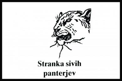 Logotip stranke sivih panterjev. Narisan črn panter na beli podlagi, spodaj napis Stranka sivih panterjev.
